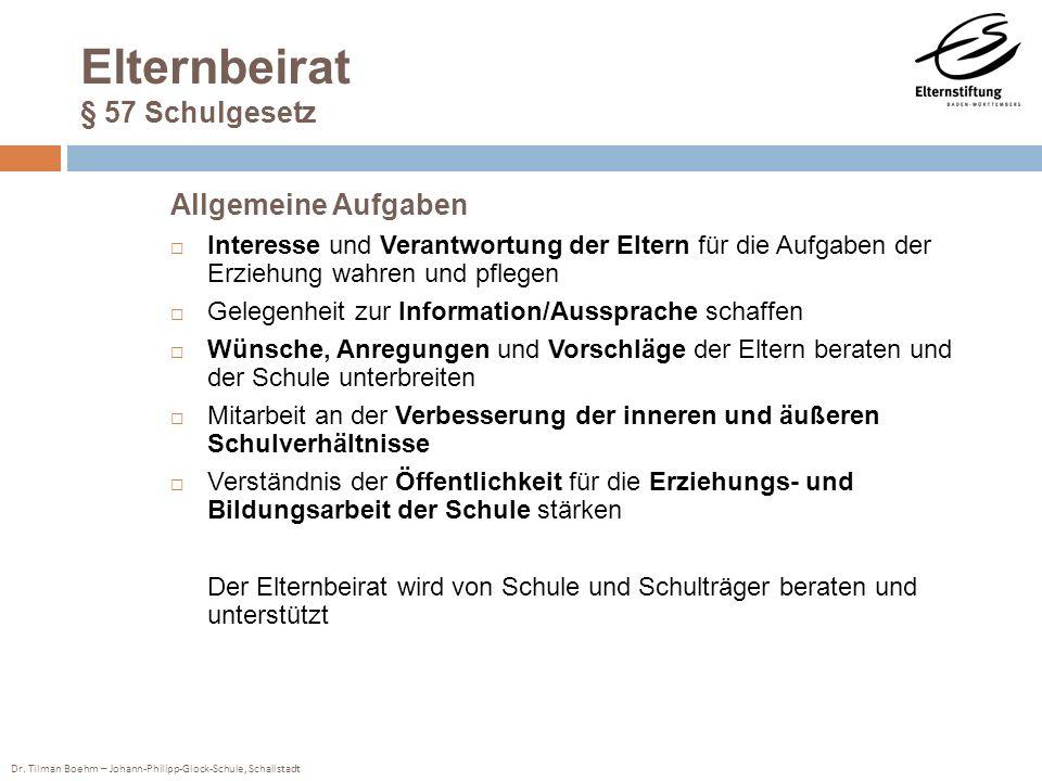 Dr. Tilman Boehm – Johann-Philipp-Glock-Schule, Schallstadt Elternbeirat § 57 Schulgesetz Allgemeine Aufgaben Interesse und Verantwortung der Eltern f