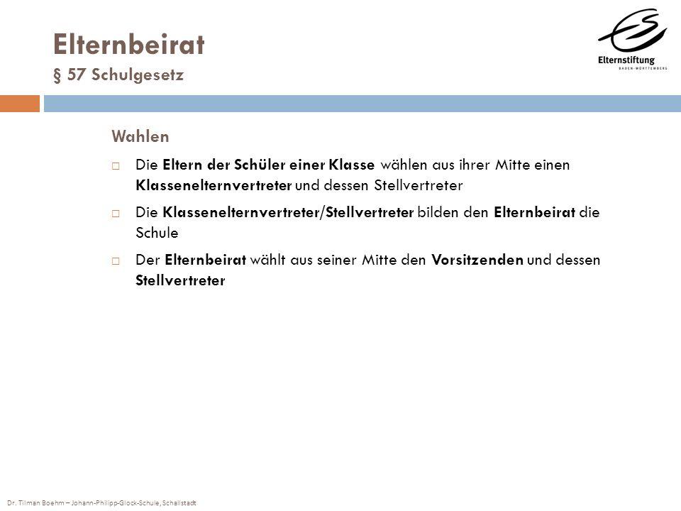 Dr. Tilman Boehm – Johann-Philipp-Glock-Schule, Schallstadt Elternbeirat § 57 Schulgesetz Wahlen Die Eltern der Schüler einer Klasse wählen aus ihrer