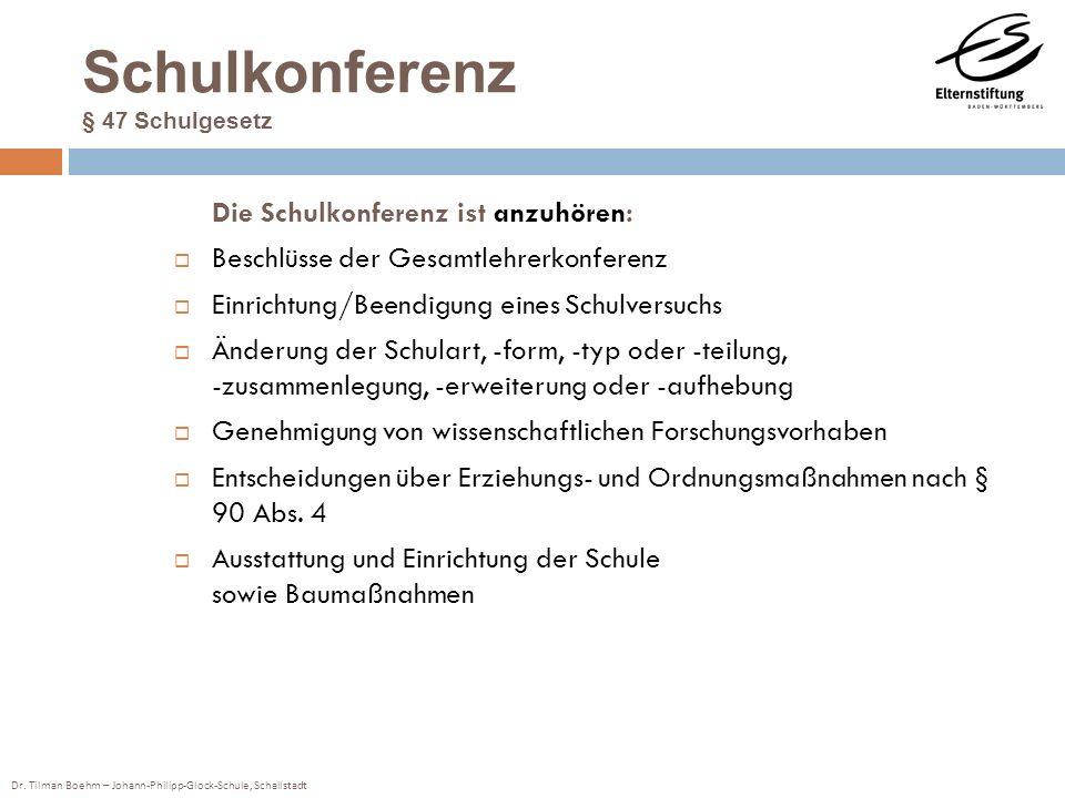 Dr. Tilman Boehm – Johann-Philipp-Glock-Schule, Schallstadt Schulkonferenz § 47 Schulgesetz Die Schulkonferenz ist anzuhören: Beschlüsse der Gesamtleh