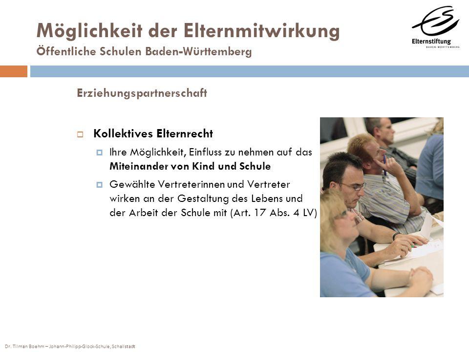 Dr. Tilman Boehm – Johann-Philipp-Glock-Schule, Schallstadt Möglichkeit der Elternmitwirkung Öffentliche Schulen Baden-Württemberg Erziehungspartnersc