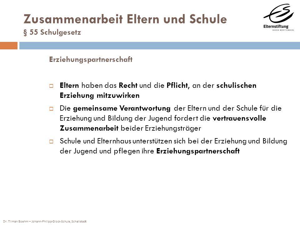 Dr. Tilman Boehm – Johann-Philipp-Glock-Schule, Schallstadt Zusammenarbeit Eltern und Schule § 55 Schulgesetz Erziehungspartnerschaft Eltern haben das