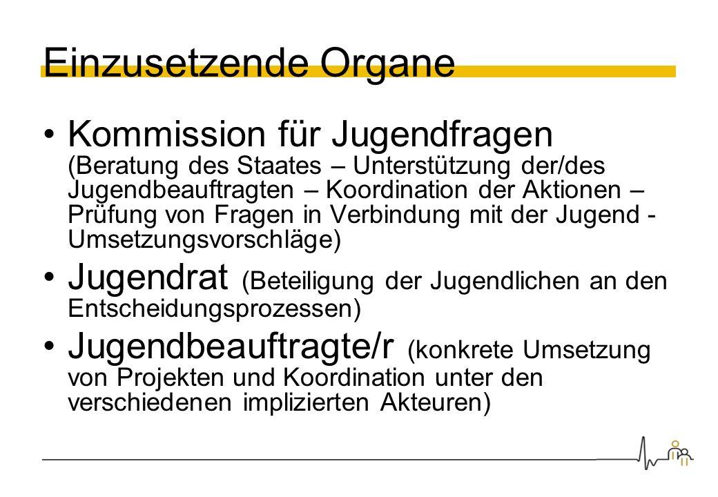 Einzusetzende Organe Kommission für Jugendfragen (Beratung des Staates – Unterstützung der/des Jugendbeauftragten – Koordination der Aktionen – Prüfun