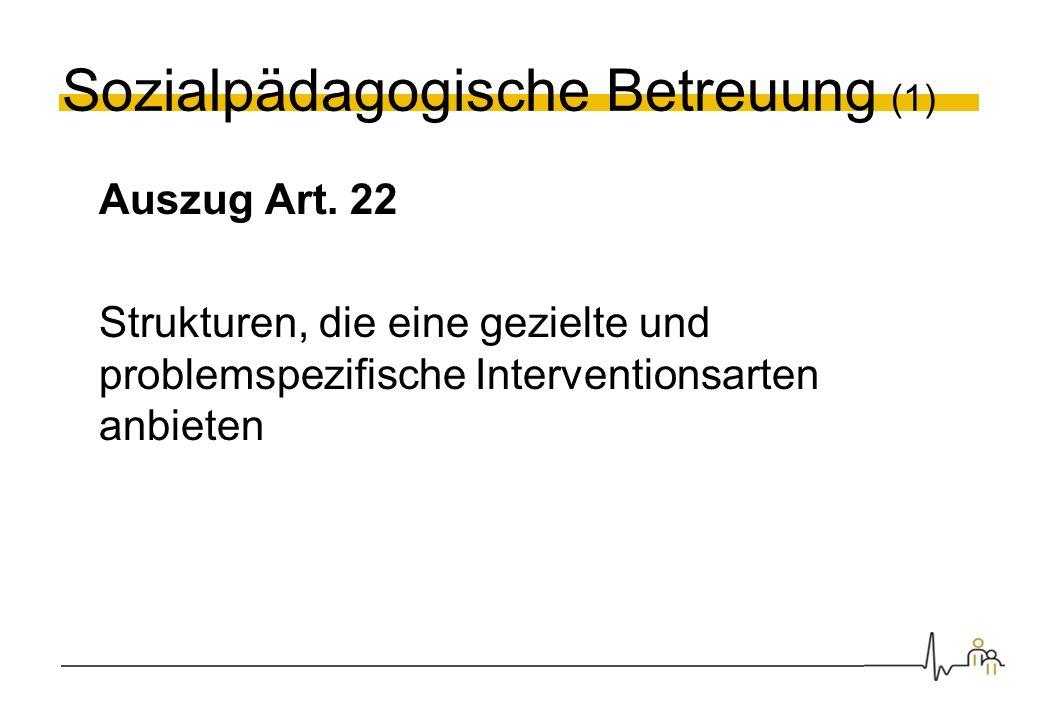 Sozialpädagogische Betreuung (1) Auszug Art. 22 Strukturen, die eine gezielte und problemspezifische Interventionsarten anbieten