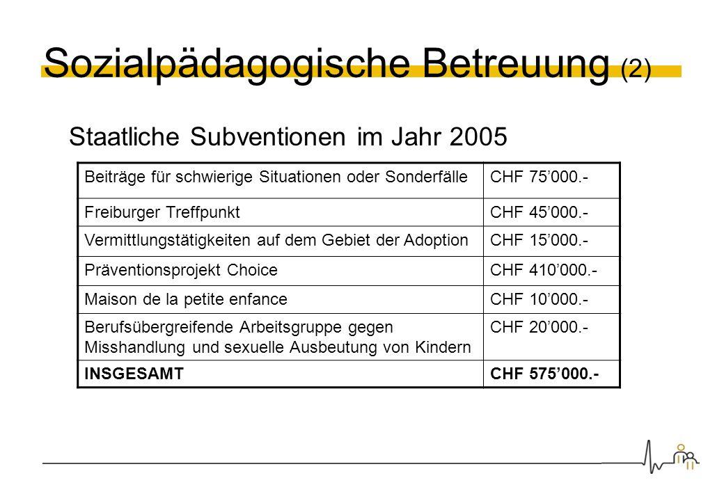 Sozialpädagogische Betreuung (2) Staatliche Subventionen im Jahr 2005 Beiträge für schwierige Situationen oder SonderfälleCHF 75000.- Freiburger Treff