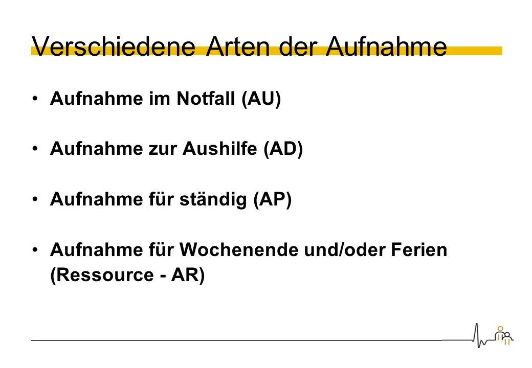 Verschiedene Arten der Aufnahme Aufnahme im Notfall (AU) Aufnahme zur Aushilfe (AD) Aufnahme für ständig (AP) Aufnahme für Wochenende und/oder Ferien