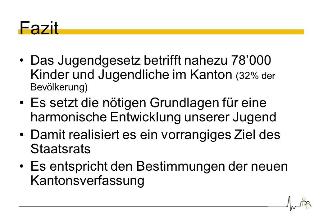 Fazit Das Jugendgesetz betrifft nahezu 78000 Kinder und Jugendliche im Kanton (32% der Bevölkerung) Es setzt die nötigen Grundlagen für eine harmonisc