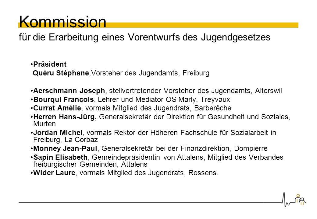 Kommission für die Erarbeitung eines Vorentwurfs des Jugendgesetzes Präsident Quéru Stéphane,Vorsteher des Jugendamts, Freiburg Aerschmann Joseph, ste