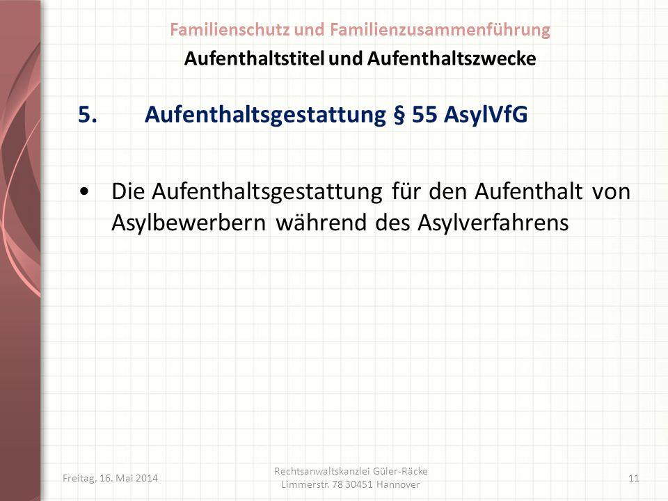 5.Aufenthaltsgestattung § 55 AsylVfG Freitag, 16. Mai 2014 Rechtsanwaltskanzlei Güler-Räcke Limmerstr. 78 30451 Hannover 11 Die Aufenthaltsgestattung
