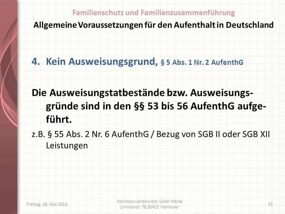 Freitag, 16. Mai 2014 Rechtsanwaltskanzlei Güler-Räcke Limmerstr. 78 30451 Hannover 21 4.Kein Ausweisungsgrund, § 5 Abs. 1 Nr. 2 AufenthG Die Ausweisu