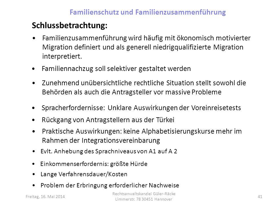 Freitag, 16. Mai 2014 Rechtsanwaltskanzlei Güler-Räcke Limmerstr. 78 30451 Hannover 41 Schlussbetrachtung: Familienzusammenführung wird häufig mit öko