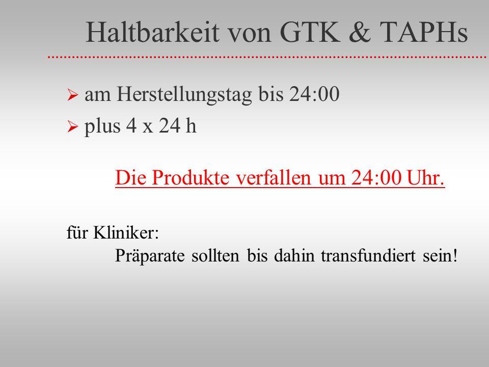 Haltbarkeit von GTK & TAPHs am Herstellungstag bis 24:00 plus 4 x 24 h Die Produkte verfallen um 24:00 Uhr.