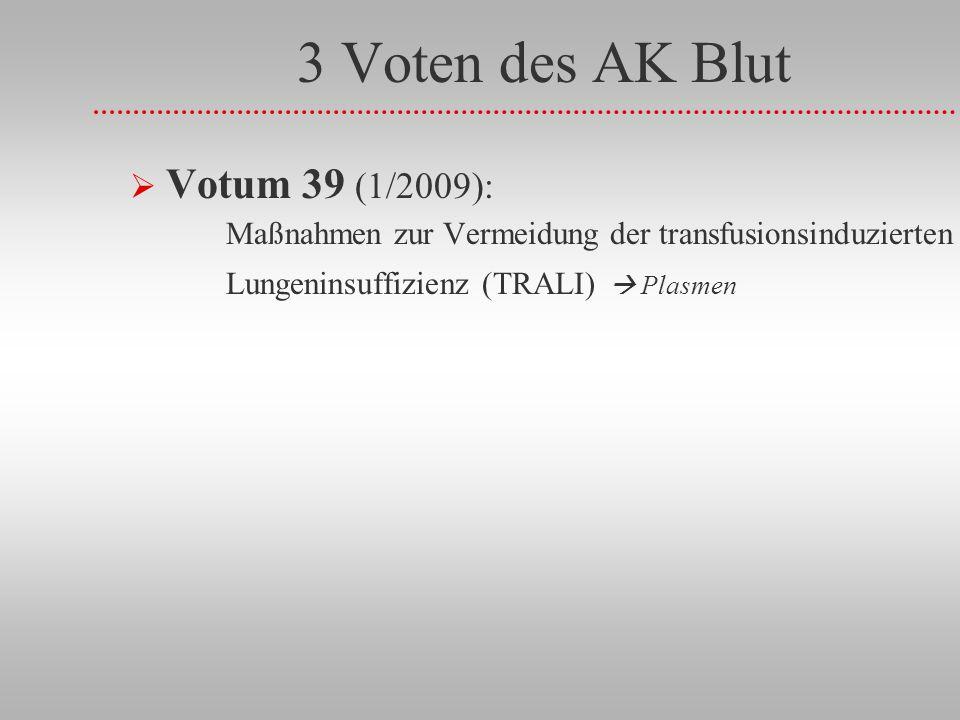 3 Voten des AK Blut Votum 39 (1/2009): Maßnahmen zur Vermeidung der transfusionsinduzierten Lungeninsuffizienz (TRALI) Plasmen