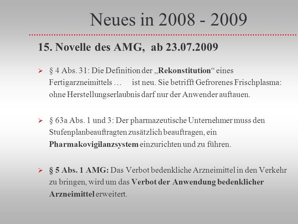 Neues in 2008 - 2009 15. Novelle des AMG, ab 23.07.2009 § 4 Abs. 31: Die Definition der Rekonstitution eines Fertigarzneimittels … ist neu. Sie betrif
