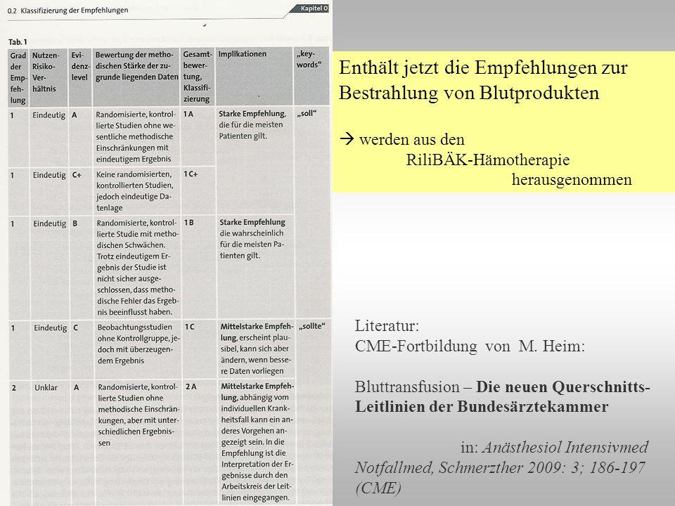 Enthält jetzt die Empfehlungen zur Bestrahlung von Blutprodukten werden aus den RiliBÄK-Hämotherapie herausgenommen Literatur: CME-Fortbildung von M.