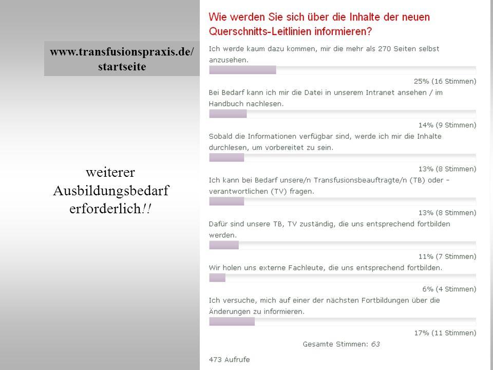 www.transfusionspraxis.de/ startseite weiterer Ausbildungsbedarf erforderlich!!