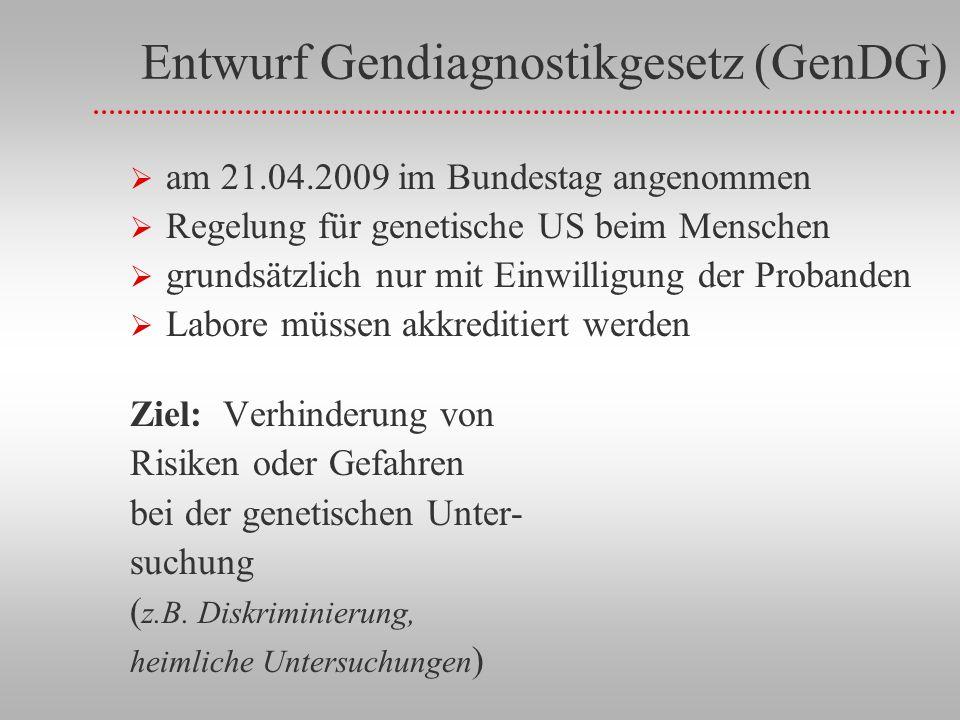 Entwurf Gendiagnostikgesetz (GenDG) am 21.04.2009 im Bundestag angenommen Regelung für genetische US beim Menschen grundsätzlich nur mit Einwilligung der Probanden Labore müssen akkreditiert werden Ziel: Verhinderung von Risiken oder Gefahren bei der genetischen Unter- suchung ( z.B.