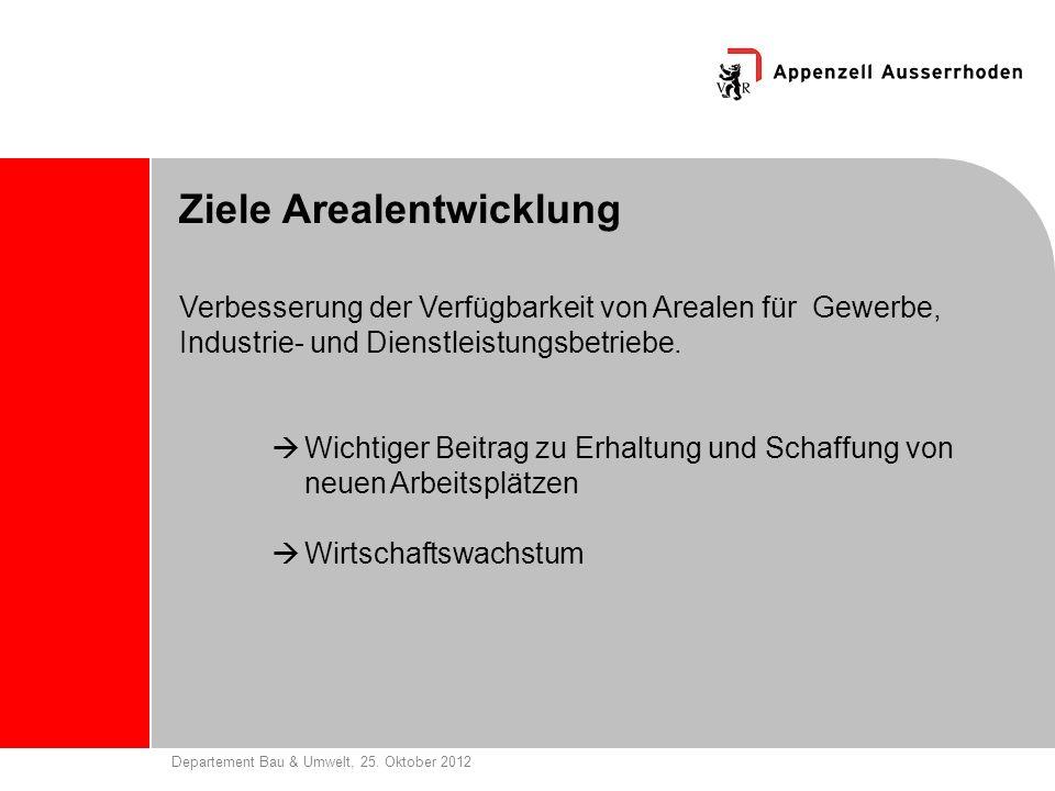 Departement Bau & Umwelt, 25. Oktober 2012 Ziele Arealentwicklung Verbesserung der Verfügbarkeit von Arealen für Gewerbe, Industrie- und Dienstleistun