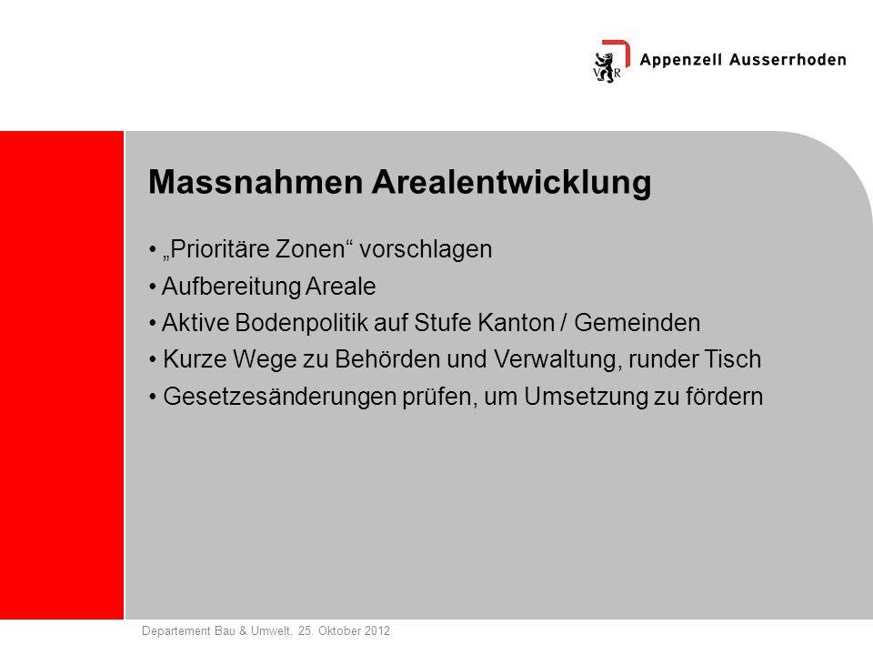 Departement Bau & Umwelt, 25. Oktober 2012 Massnahmen Arealentwicklung Prioritäre Zonen vorschlagen Aufbereitung Areale Aktive Bodenpolitik auf Stufe