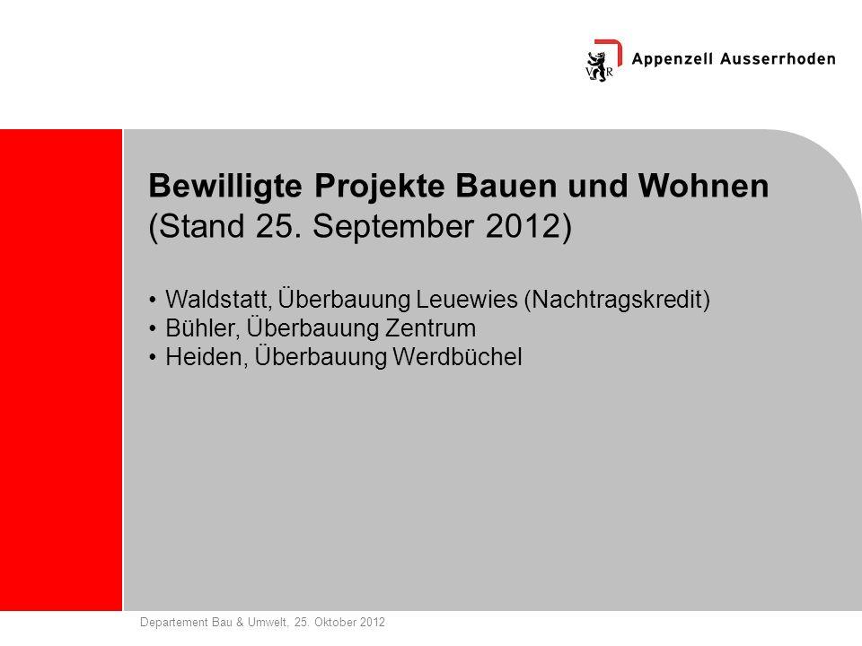Departement Bau & Umwelt, 25. Oktober 2012 Bewilligte Projekte Bauen und Wohnen (Stand 25. September 2012) Waldstatt, Überbauung Leuewies (Nachtragskr