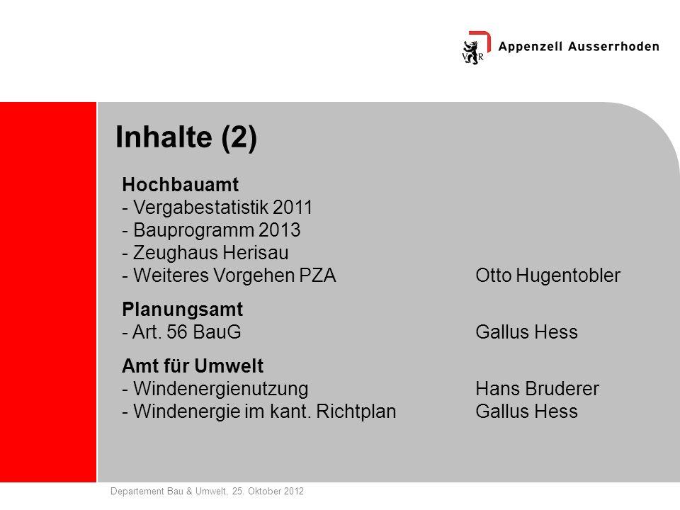 Departement Bau & Umwelt, 25. Oktober 2012 Inhalte (2) Hochbauamt - Vergabestatistik 2011 - Bauprogramm 2013 - Zeughaus Herisau - Weiteres Vorgehen PZ