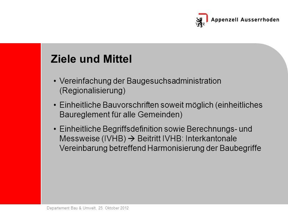 Departement Bau & Umwelt, 25. Oktober 2012 Ziele und Mittel Vereinfachung der Baugesuchsadministration (Regionalisierung) Einheitliche Bauvorschriften