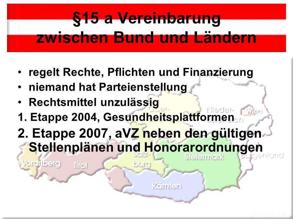 §15 a Vereinbarung zwischen Bund und Ländern regelt Rechte, Pflichten und Finanzierung niemand hat Parteienstellung Rechtsmittel unzulässig 1.