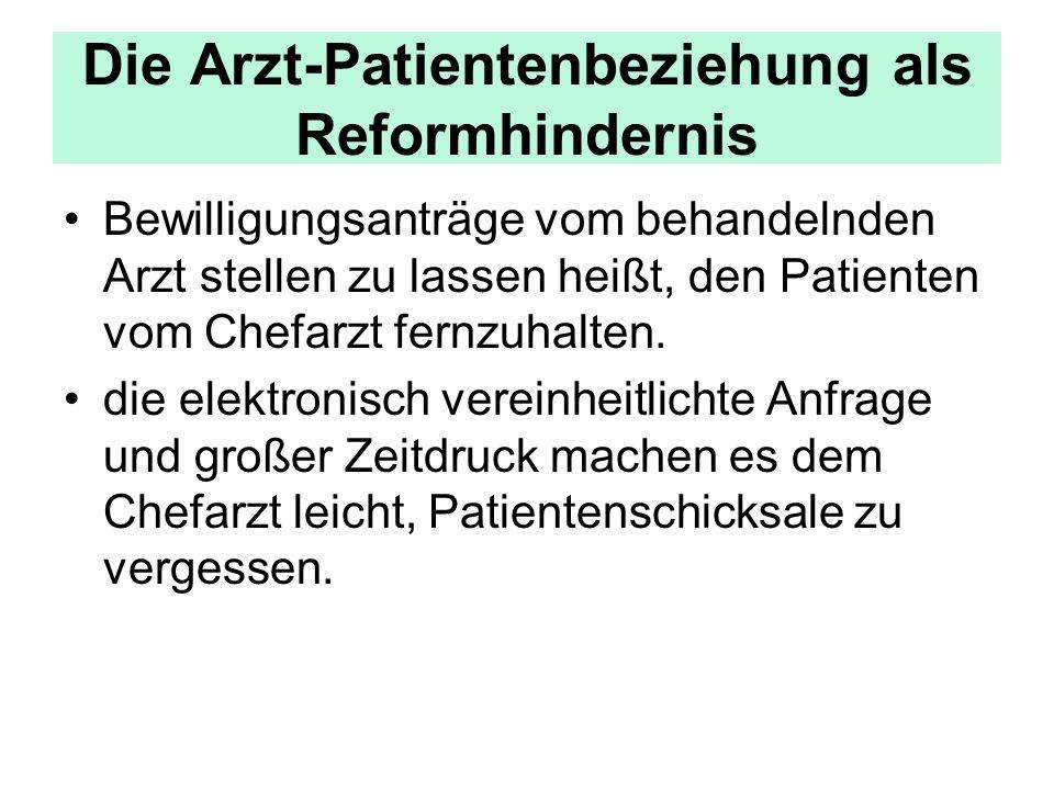 Die Arzt-Patientenbeziehung als Reformhindernis Bewilligungsanträge vom behandelnden Arzt stellen zu lassen heißt, den Patienten vom Chefarzt fernzuhalten.