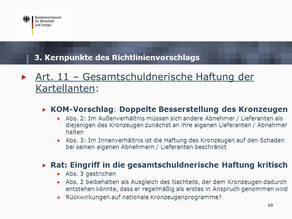10 Art. 11 – Gesamtschuldnerische Haftung der Kartellanten: KOM-Vorschlag: Doppelte Besserstellung des Kronzeugen Abs. 2: Im Außenverhältnis müssen si