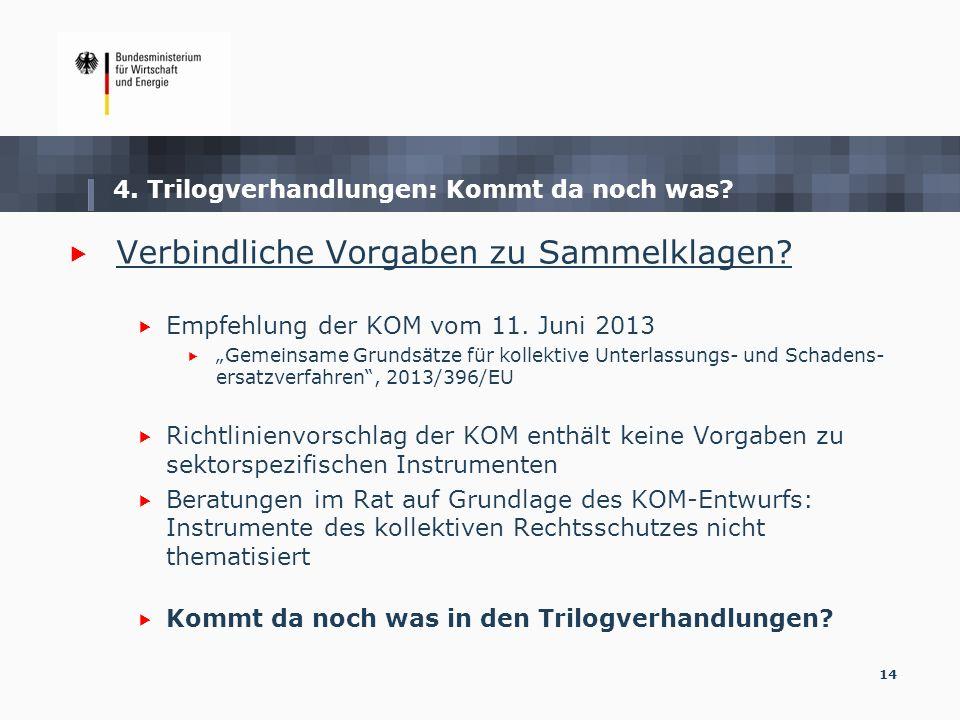 14 4. Trilogverhandlungen: Kommt da noch was? Verbindliche Vorgaben zu Sammelklagen? Empfehlung der KOM vom 11. Juni 2013 Gemeinsame Grundsätze für ko