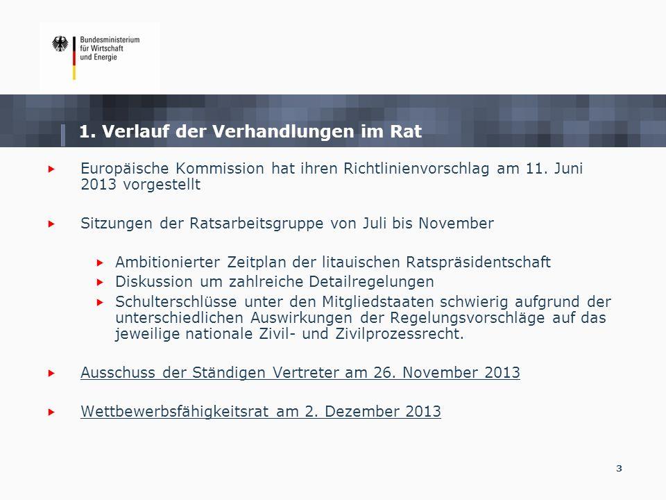 3 1. Verlauf der Verhandlungen im Rat Europäische Kommission hat ihren Richtlinienvorschlag am 11. Juni 2013 vorgestellt Sitzungen der Ratsarbeitsgrup
