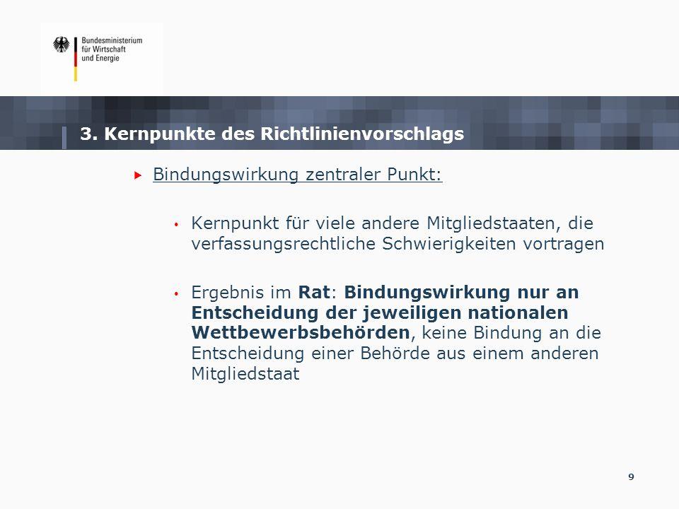 3. Kernpunkte des Richtlinienvorschlags Bindungswirkung zentraler Punkt: Kernpunkt für viele andere Mitgliedstaaten, die verfassungsrechtliche Schwier