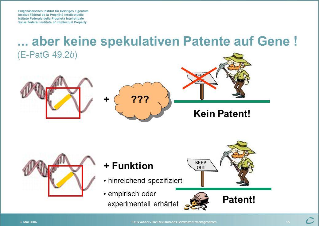 Felix Addor - Die Revision des Schweizer Patentgesetzes3. Mai 200615... aber keine spekulativen Patente auf Gene ! (E-PatG 49.2b) KEEPOUT + Funktion h