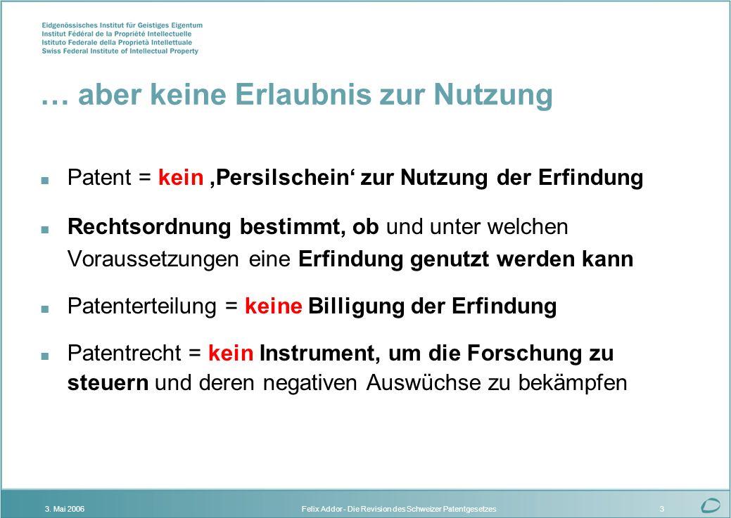 Felix Addor - Die Revision des Schweizer Patentgesetzes3. Mai 20063 … aber keine Erlaubnis zur Nutzung n Patent = kein Persilschein zur Nutzung der Er