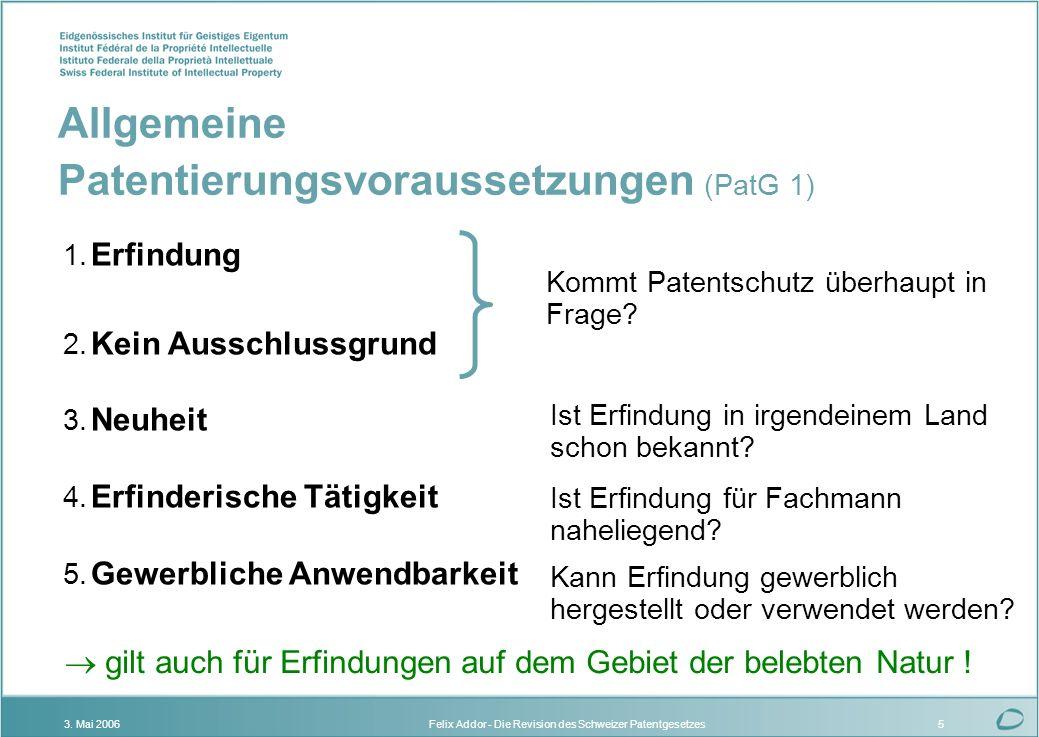 Felix Addor - Die Revision des Schweizer Patentgesetzes3. Mai 20065 1. Erfindung 2. Kein Ausschlussgrund 3. Neuheit 4. Erfinderische Tätigkeit 5. Gewe