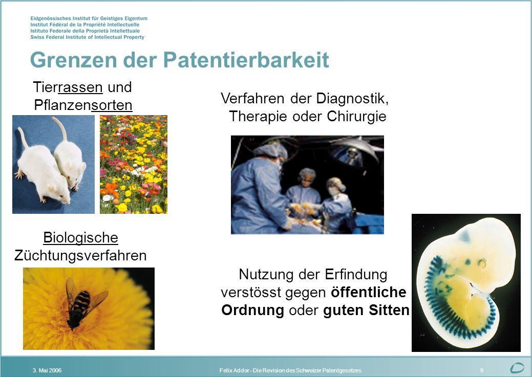 Felix Addor - Die Revision des Schweizer Patentgesetzes3. Mai 20069 Tierrassen und Pflanzensorten Biologische Züchtungsverfahren Verfahren der Diagnos