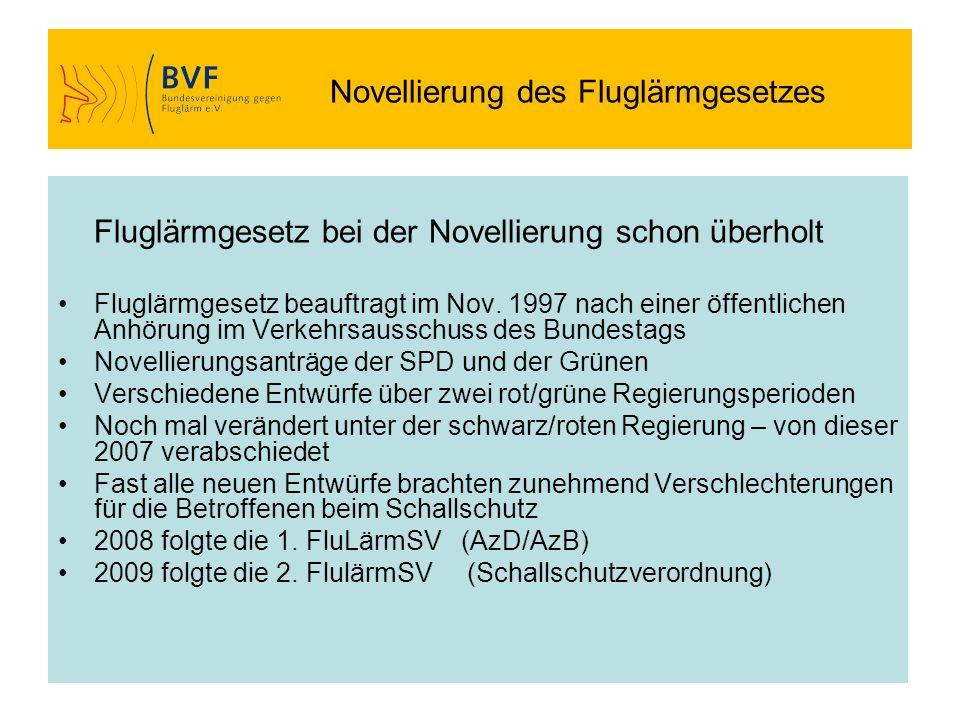 Novellierung des Fluglärmgesetzes Fluglärmgesetz bei der Novellierung schon überholt Fluglärmgesetz beauftragt im Nov. 1997 nach einer öffentlichen An