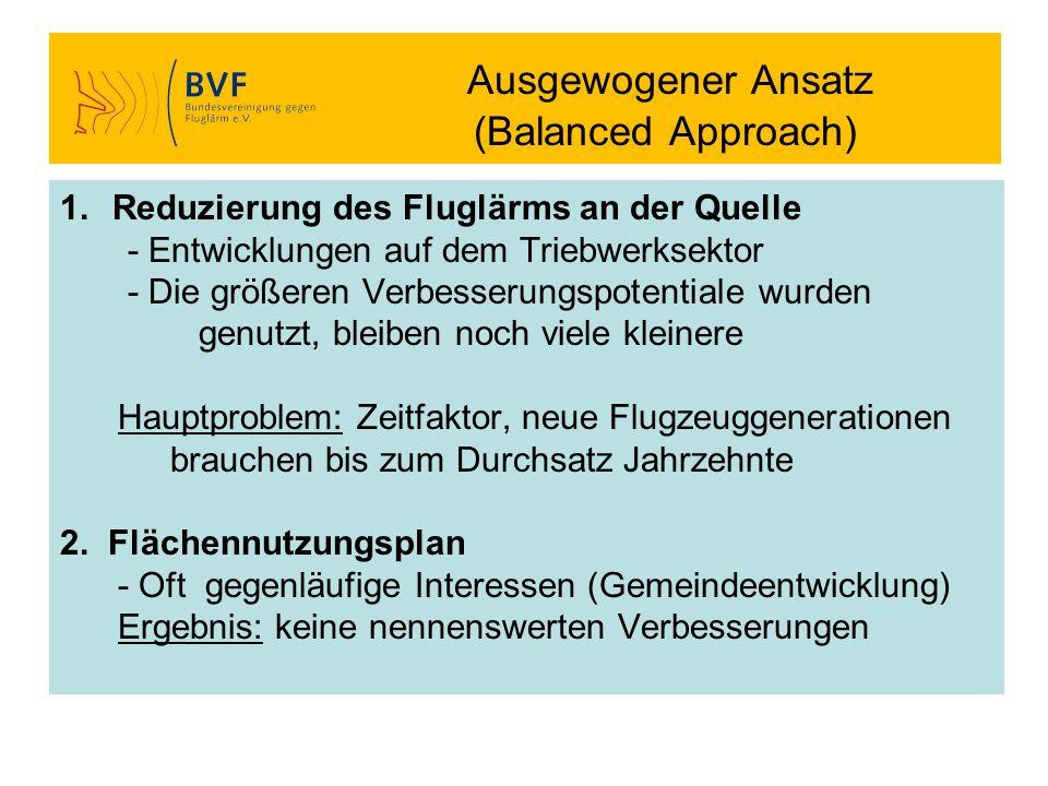 Ausgewogener Ansatz (Balanced Approach) 1.Reduzierung des Fluglärms an der Quelle - Entwicklungen auf dem Triebwerksektor - Die größeren Verbesserungs