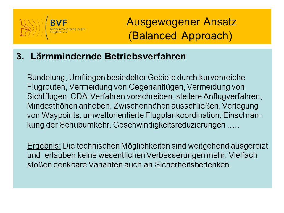 Ausgewogener Ansatz (Balanced Approach) 3.Lärmmindernde Betriebsverfahren Bündelung, Umfliegen besiedelter Gebiete durch kurvenreiche Flugrouten, Verm