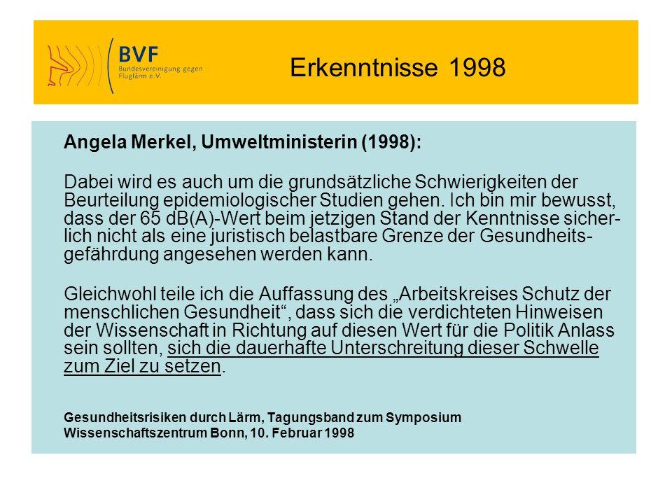 Erkenntnisse 1998 Angela Merkel, Umweltministerin (1998): Dabei wird es auch um die grundsätzliche Schwierigkeiten der Beurteilung epidemiologischer S