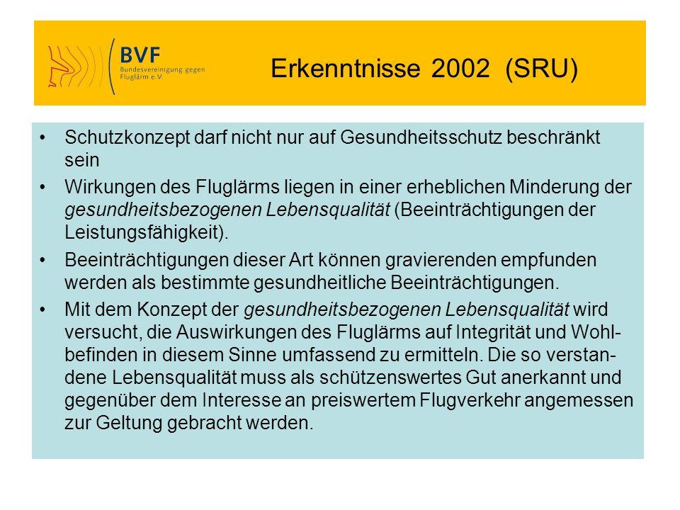 Erkenntnisse 2002 (SRU) Schutzkonzept darf nicht nur auf Gesundheitsschutz beschränkt sein Wirkungen des Fluglärms liegen in einer erheblichen Minderu
