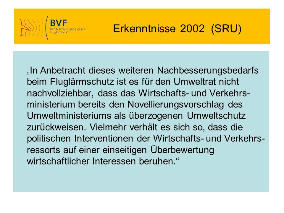 Erkenntnisse 2002 (SRU) In Anbetracht dieses weiteren Nachbesserungsbedarfs beim Fluglärmschutz ist es für den Umweltrat nicht nachvollziehbar, dass d