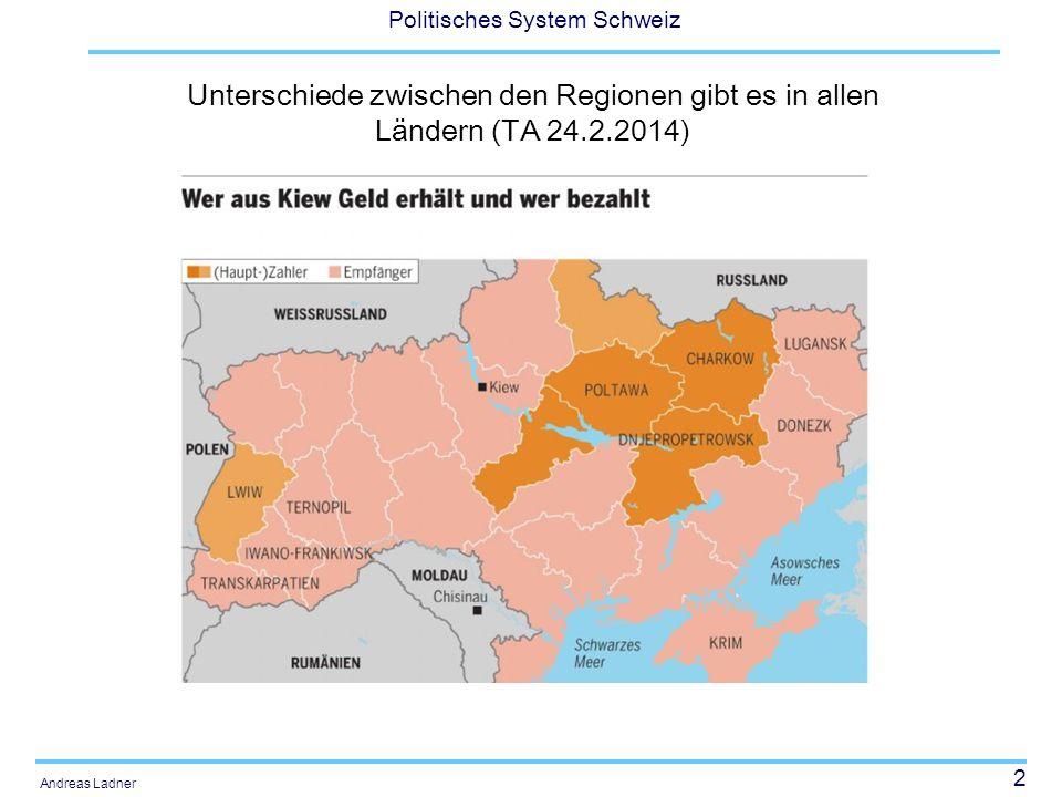13 Politisches System Schweiz Andreas Ladner Aufgaben- und Finanzierungsentflechtung Im Rahmen der Aufgabenentflechtung zwischen Bund und Kantonen werden 15 Aufgabenbereiche vollständig in die Verantwortung der Kantone und sechs Aufgabenbereiche in diejenige des Bundes übertragen.