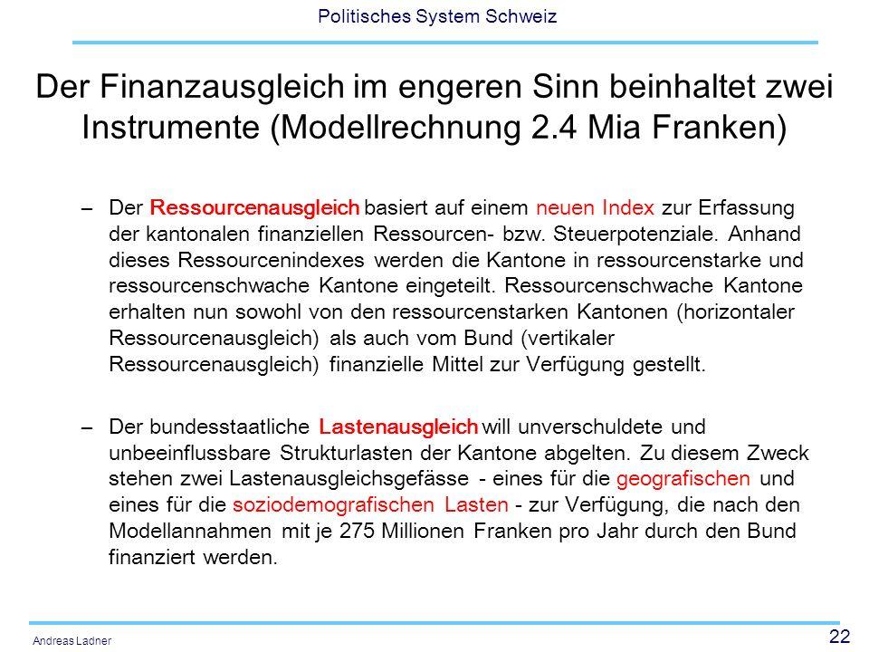 22 Politisches System Schweiz Andreas Ladner Der Finanzausgleich im engeren Sinn beinhaltet zwei Instrumente (Modellrechnung 2.4 Mia Franken) –Der Res