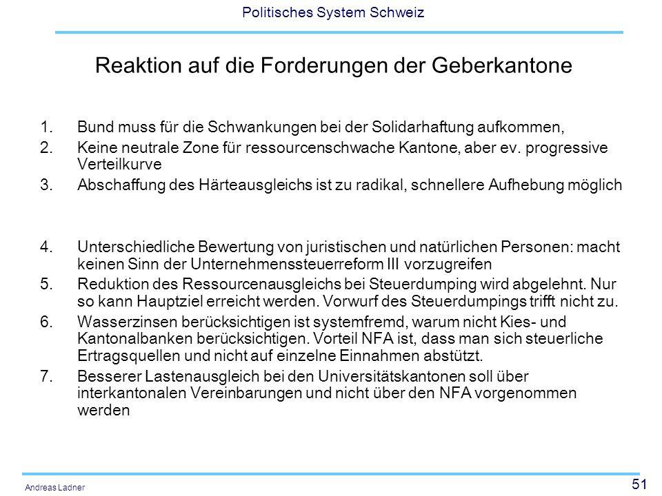 51 Politisches System Schweiz Andreas Ladner Reaktion auf die Forderungen der Geberkantone 1.Bund muss für die Schwankungen bei der Solidarhaftung auf