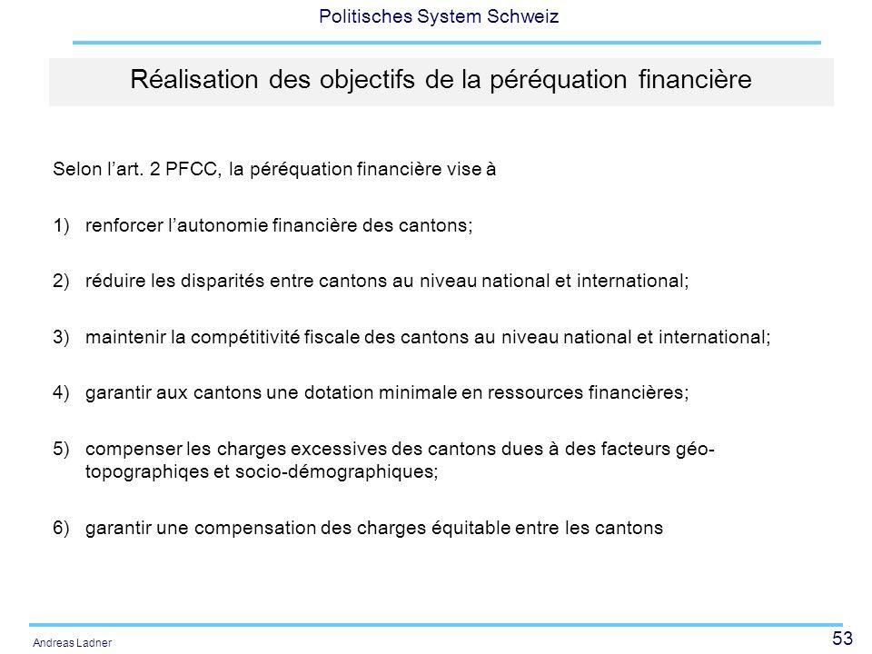 53 Politisches System Schweiz Andreas Ladner Réalisation des objectifs de la péréquation financière Selon lart. 2 PFCC, la péréquation financière vise