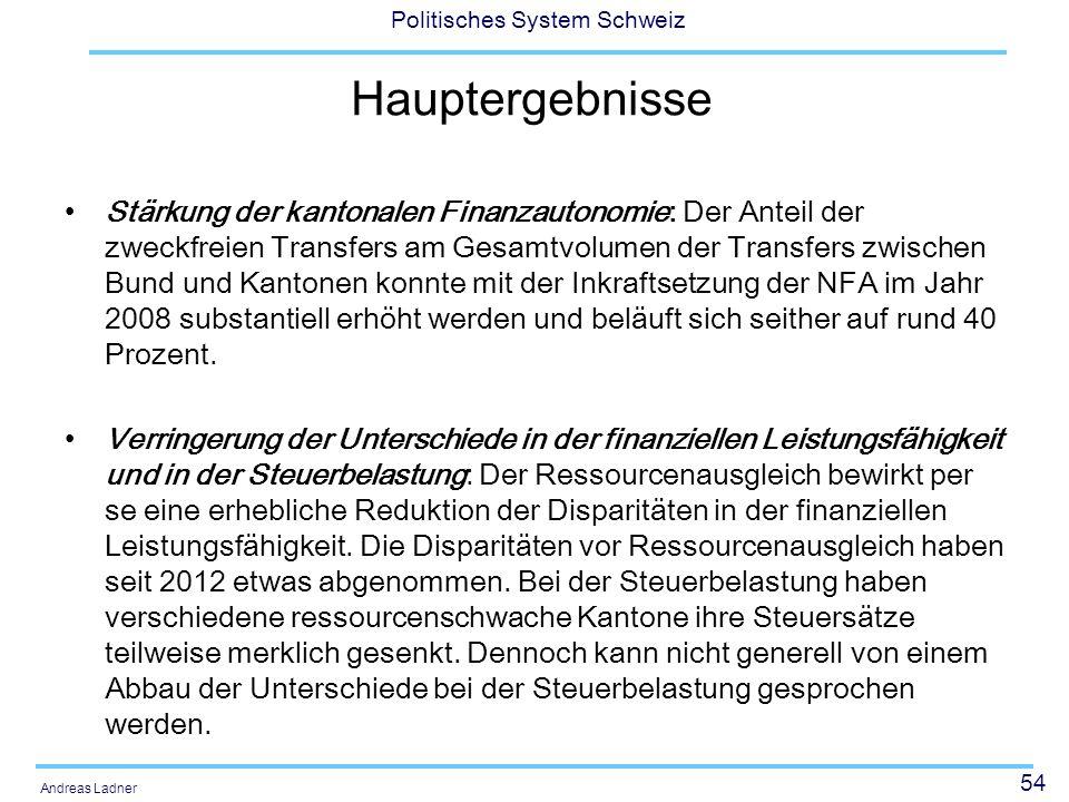 54 Politisches System Schweiz Andreas Ladner Hauptergebnisse Stärkung der kantonalen Finanzautonomie: Der Anteil der zweckfreien Transfers am Gesamtvo
