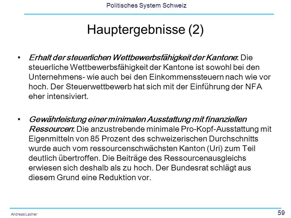 59 Politisches System Schweiz Andreas Ladner Hauptergebnisse (2) Erhalt der steuerlichen Wettbewerbsfähigkeit der Kantone: Die steuerliche Wettbewerbs
