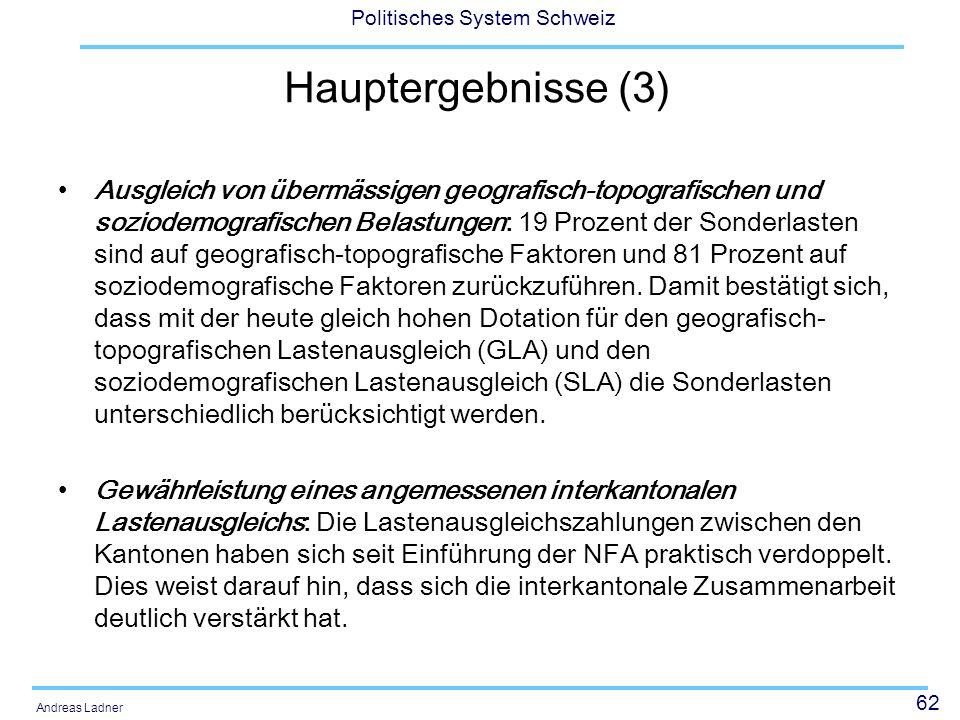 62 Politisches System Schweiz Andreas Ladner Hauptergebnisse (3) Ausgleich von übermässigen geografisch-topografischen und soziodemografischen Belastu