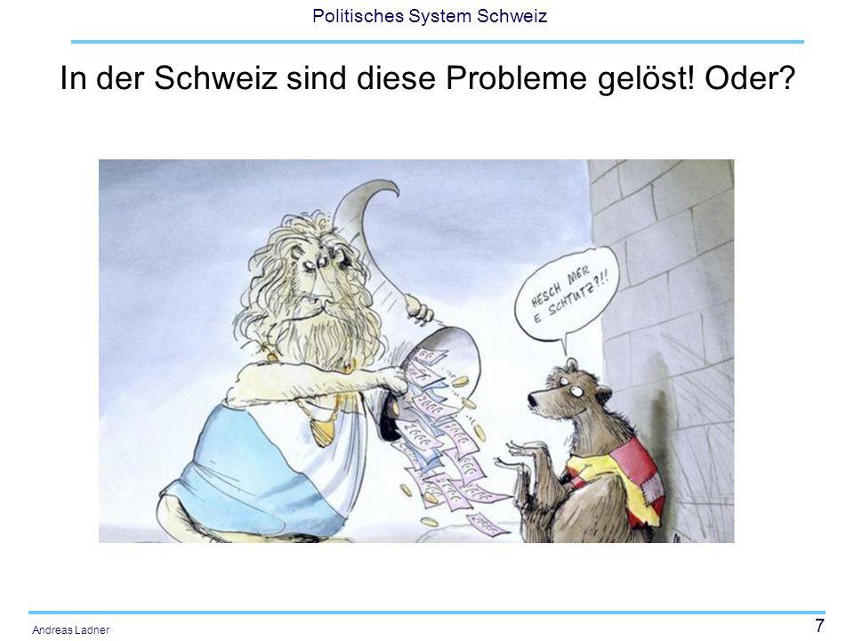 58 Politisches System Schweiz Andreas Ladner Objectif 2: Réduction des disparités entre les cantons en ce qui concerne la capacité financière Evolution des disparités au niveau de la charge fiscale Moyenne nationale de lexploitation du potentiel de ressources 2008: 26.0% 2014: 26.7% Diminution de la charge fiscale entre 2008 et 2014 pour la majorité des cantons Augmentation des disparités Fourchette 2008: 13.5% (ZG) et 32.5% (JU) Fourchette 2014: 12.7 (SZ) et 35.4% (GE)