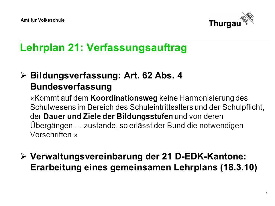 Amt für Volksschule 4 Lehrplan 21: Verfassungsauftrag Bildungsverfassung: Art.